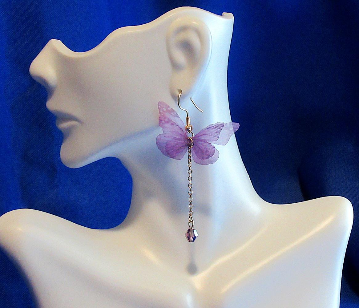 purple fluttery butterfly earrings