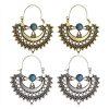 Turquoise and Metal Vintage-look Hoop Earrings