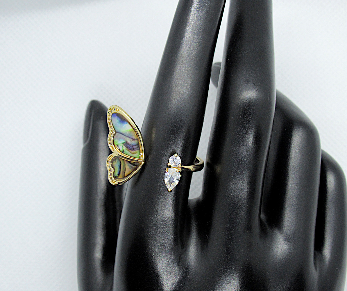 faux abalone adjustable ring