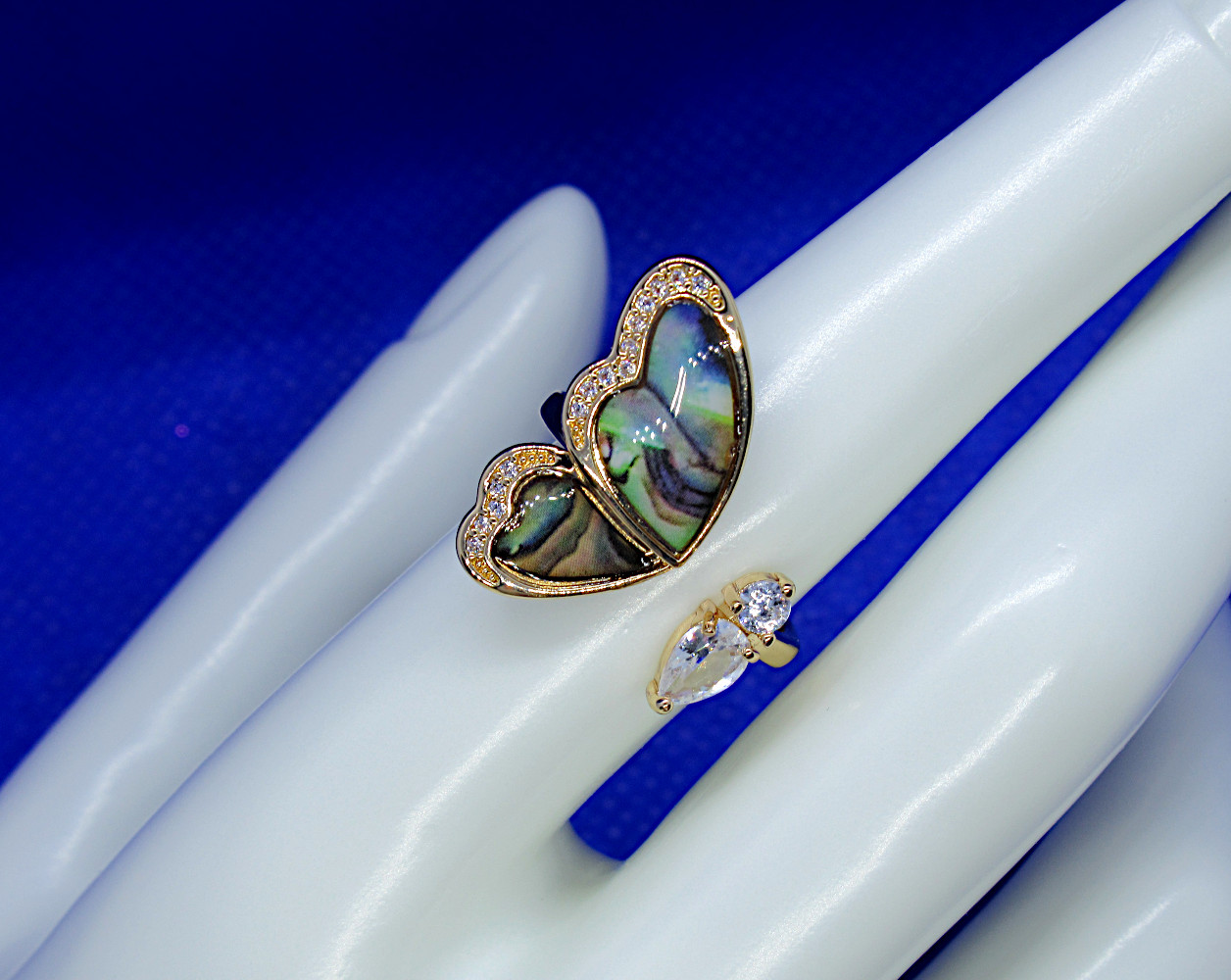 abalone butterfly ring