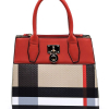 Plaid handbag in red
