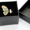Faux Abalone Shell Butterfly and Zircon Open Adjustable Ring-boxed