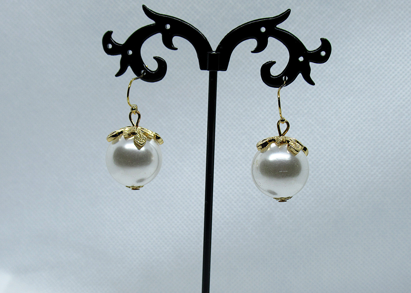 Pearl and Gold Berry Drop Earrings