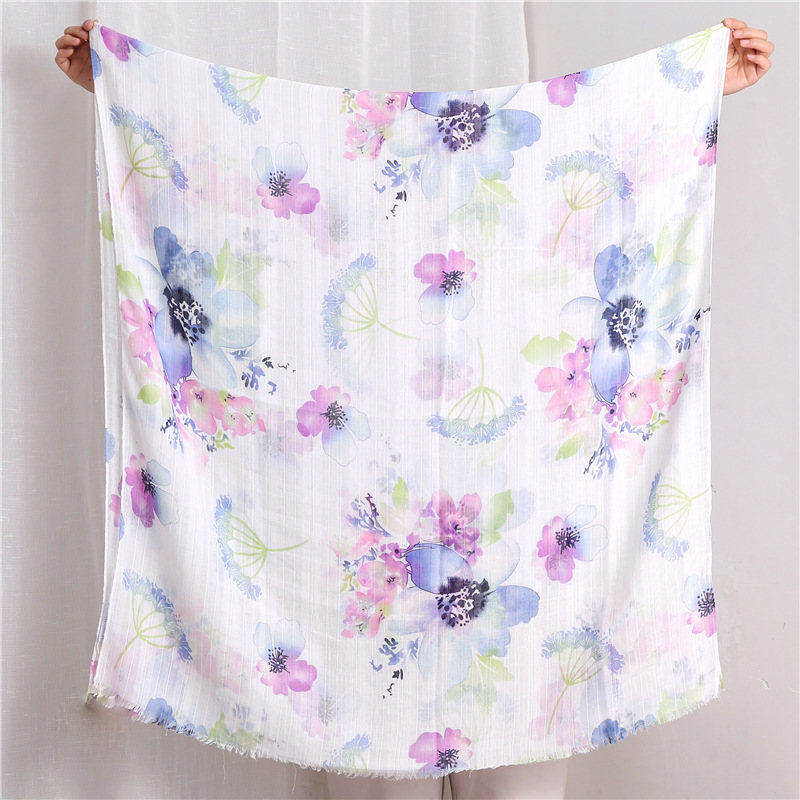 Blooming flower scarf-viscose