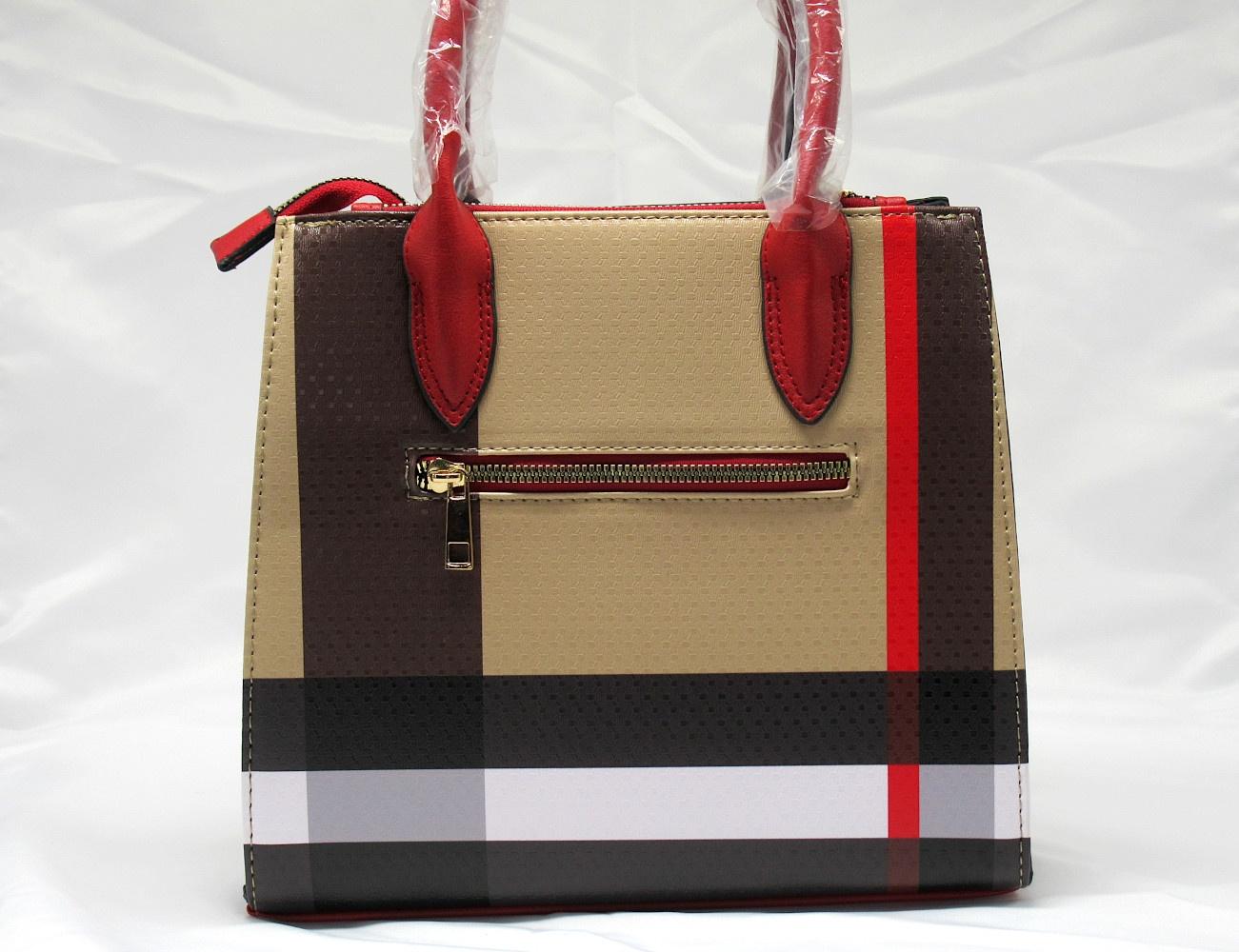 BAG1_Red and Plaid Check Padlock 2-in-1 Bag-back1