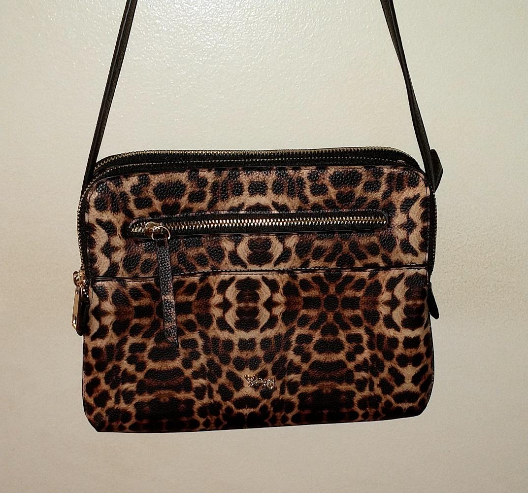 Matthew + Julian Leopard Print Crossbody Bag front view