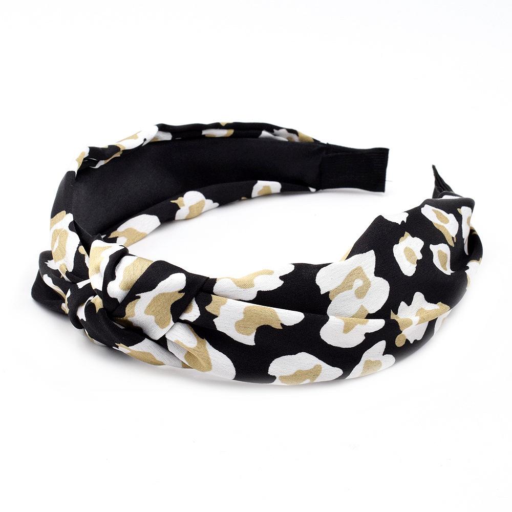 Black-leopard print headband with side knot