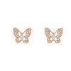 Faux Diamond Gold Butterfly Stud Earrings