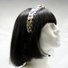 Leopard Print Knotted Headband-Khaki on model head