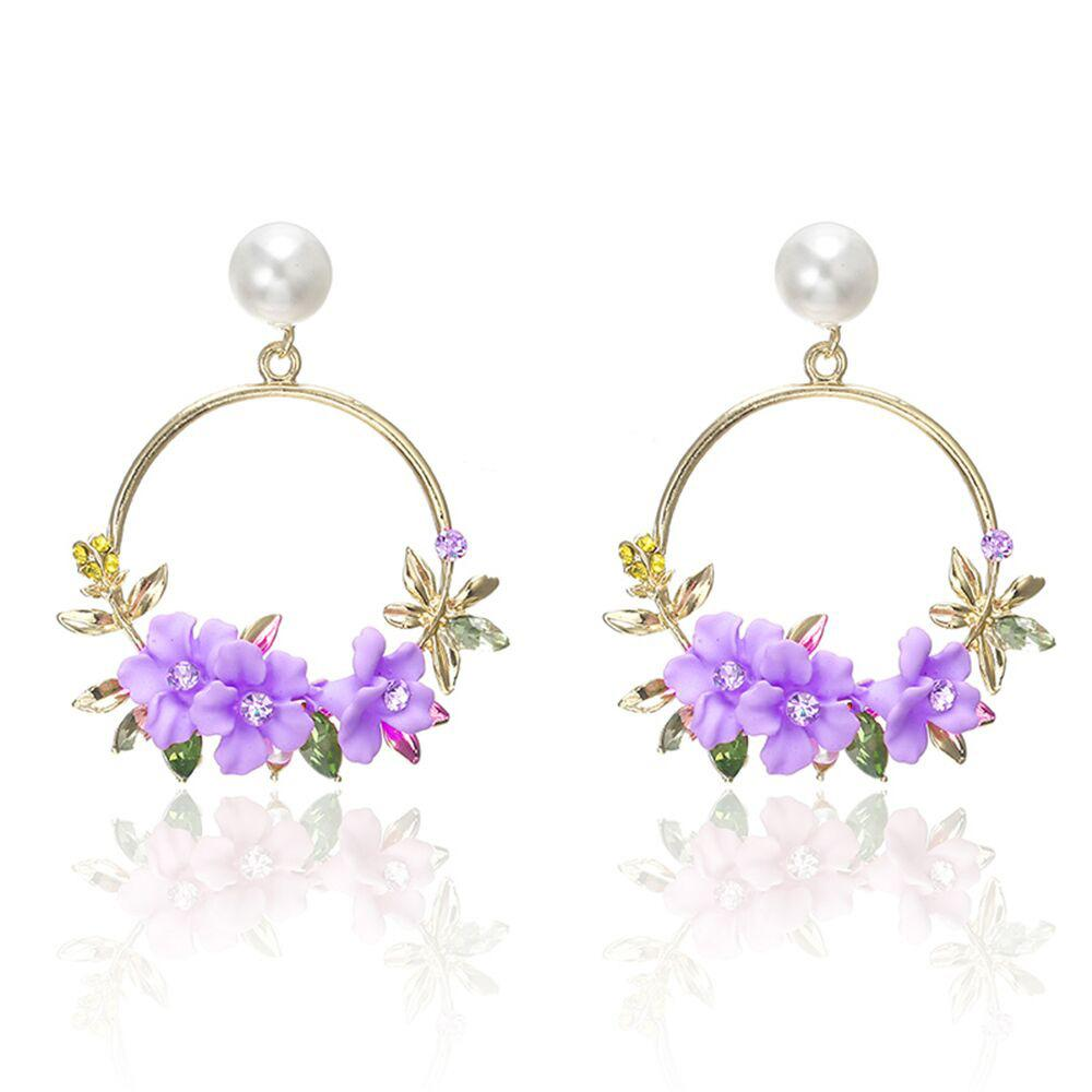 Crystal and Pearl Floral Wreath Hoop Earrings_purple