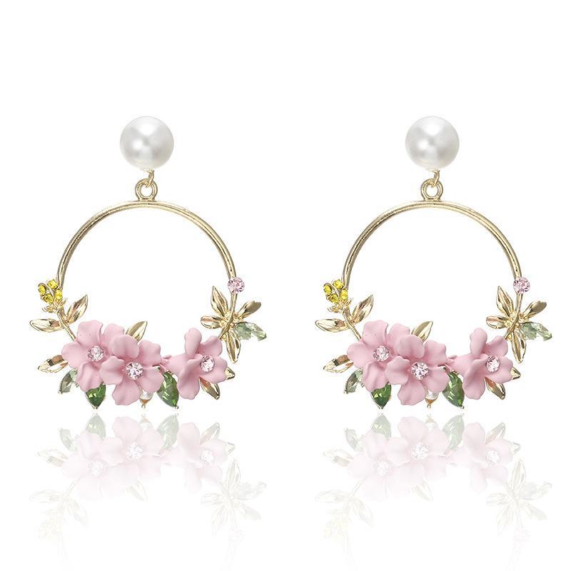 Crystal and Pearl Floral Wreath Hoop Earrings-Pink