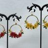 Crystal and Pearl Floral Wreath Hoop Earrings-yellow-red