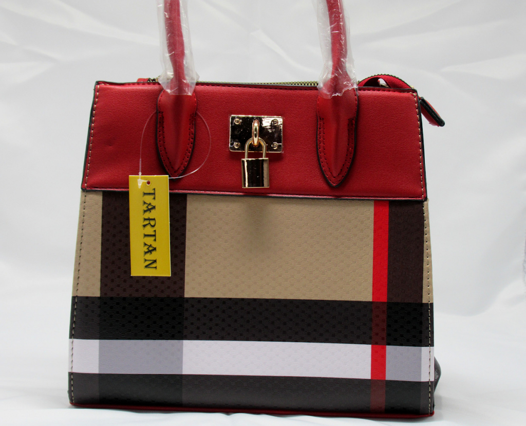 Red and Plaid Check Padlock 2-in-1 Bag