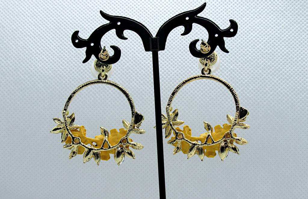 Crystal and Pearl Floral Wreath Hoop Earrings-yellow, back