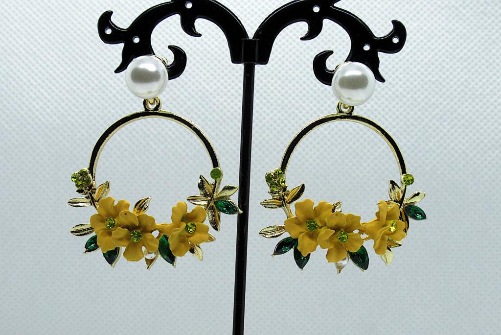 Crystal and Pearl Floral Wreath Hoop Earrings-yellow
