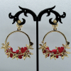 Crystal and Pearl Floral Wreath Hoop Earrings-Red-back