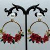 Crystal and Pearl Floral Wreath Hoop Earrings-Red