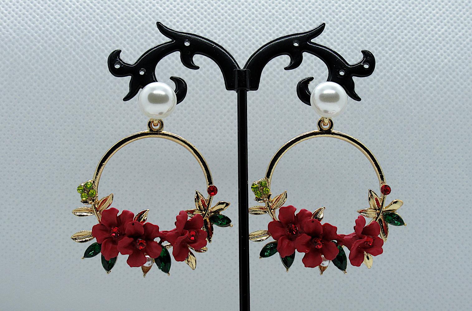 PA-302_Crystal and Pearl Floral Wreath Hoop Earrings-Red2