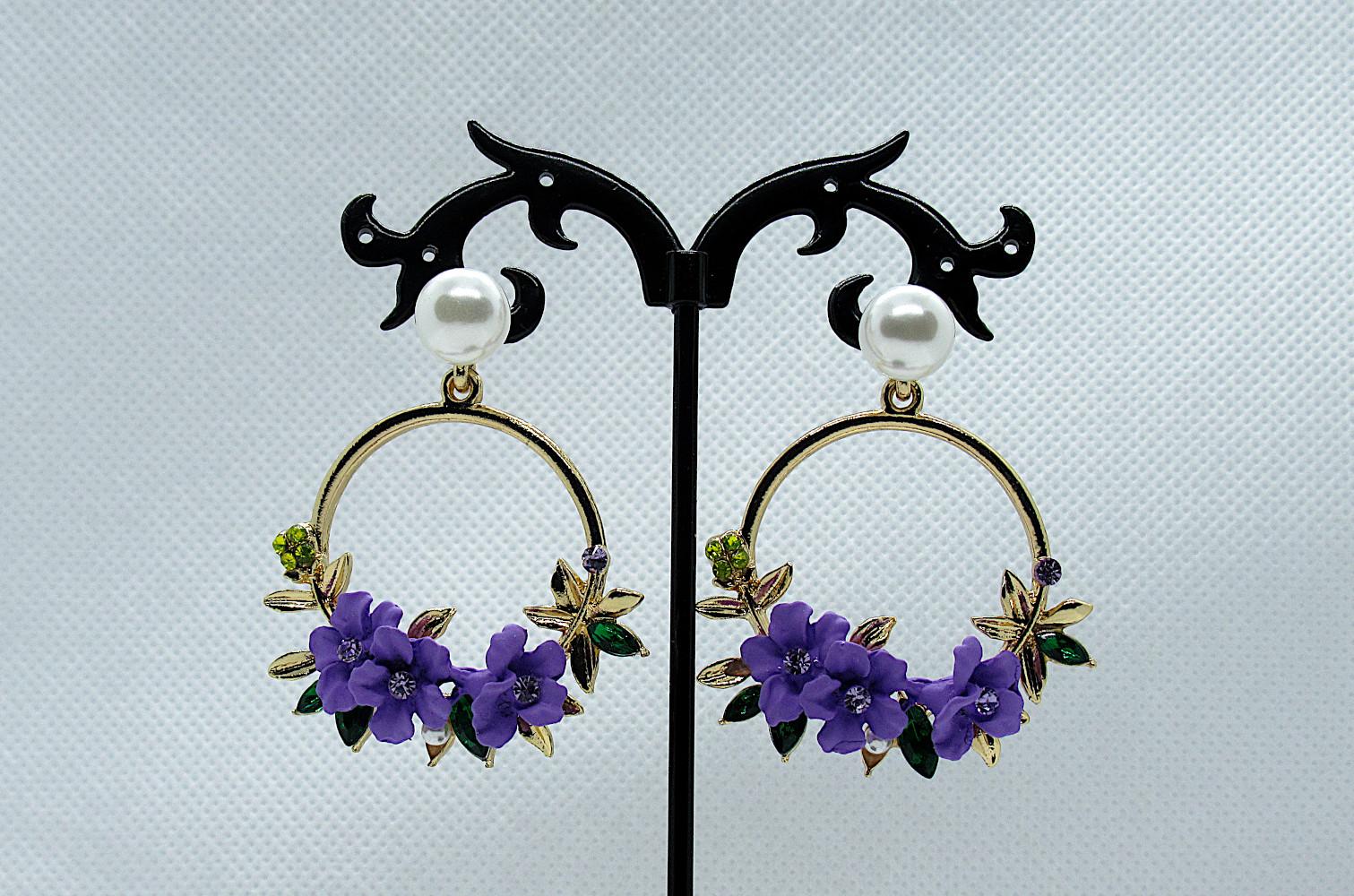PA-303_Crystal and Pearl Floral Wreath Hoop Earrings-purple1