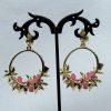 Crystal and Pearl Floral Wreath Hoop Earrings-pink-back