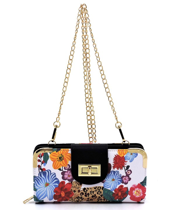 Flower and Leopard Evening Bag Clutch Purse_front chain strap