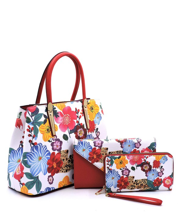 Flower and Leopard Satchel, Matching Clutch, and Matching Wallet 3-in-1 Set
