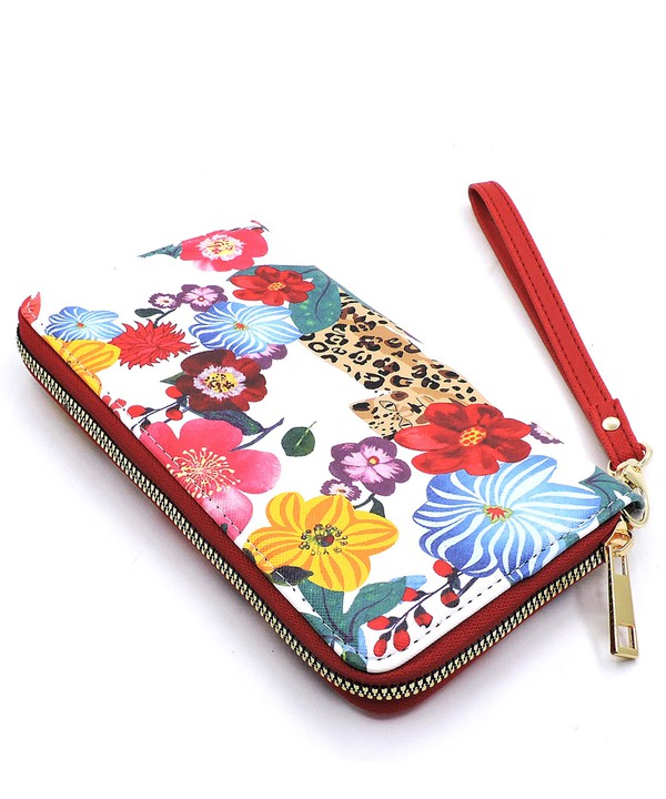 Flower and Leopard Satchel, Matching Clutch, and Matching Wallet 3-in-1 Set - top view wallet