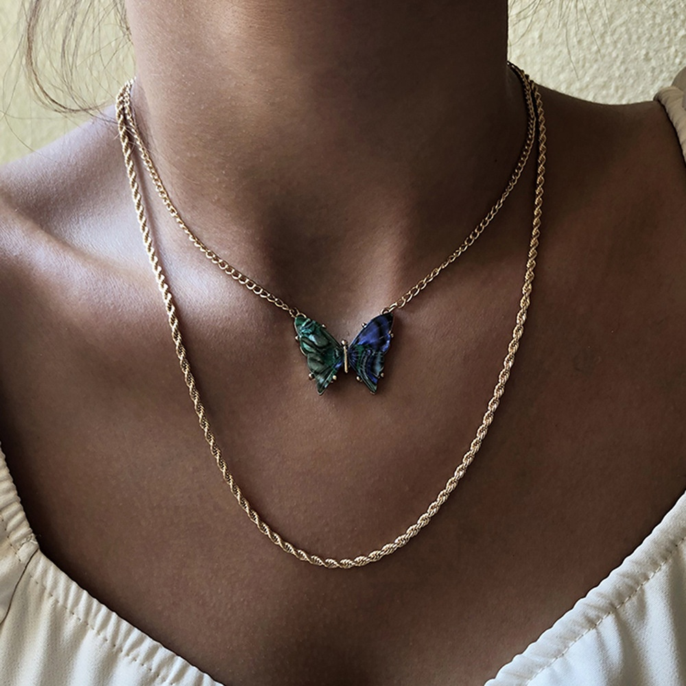 Faux Abalone Butterfly Pendant Multi-Layer Twisted Gold Chain Necklace